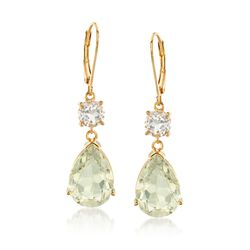 7.50 ct. t.w. Green Amethyst and 1.80 ct. t.w. White Topaz Drop Earrings in 18kt Yellow Gold Over Sterling Silver, , default