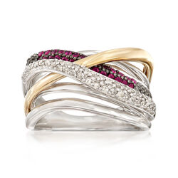 Diamond and Ruby Crisscross Highway Ring in Sterling and 14kt Gold, , default