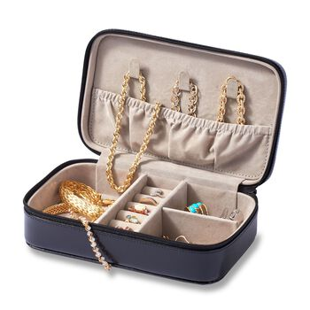 Leather Three-Initial Jewelry Case, , default