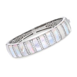 "Belle Etoile ""Regal"" Mother-Of-Pearl and 1.25 ct. t.w. CZ Bangle Bracelet in Sterling Silver. 7"", , default"