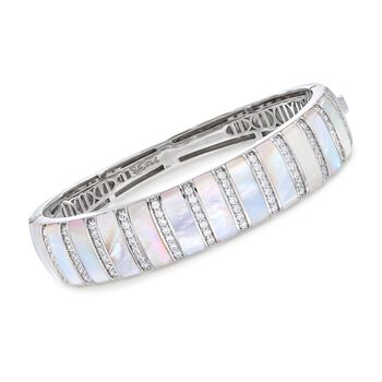 """Belle Etoile """"Regal"""" Mother-Of-Pearl and 1.25 ct. t.w. CZ Bangle Bracelet in Sterling Silver. 7"""", , default"""