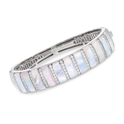 "Belle Etoile ""Regal"" Mother-Of-Pearl and 1.25 ct. t.w. CZ Bangle Bracelet in Sterling Silver, , default"