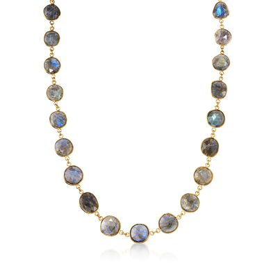 Labradorite Necklace in 14kt Gold Over Sterling Silver