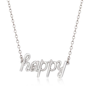 """Sterling Silver """"Happy"""" Necklace With Diamond Accents, , default"""