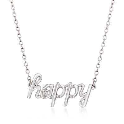 "Sterling Silver ""Happy"" Necklace with Diamond Accents, , default"