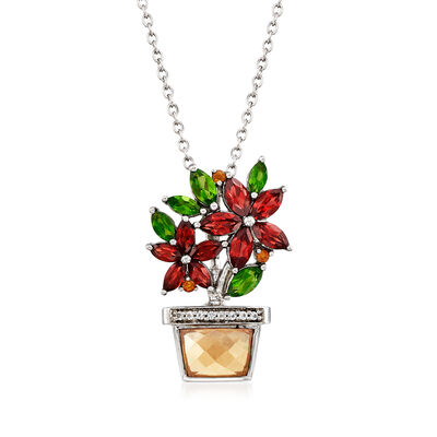 3.65 ct. t.w. Multi-Stone Flower and Planter Pendant Necklace in Sterling Silver, , default