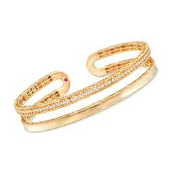 "Roberto Coin ""Symphony Princess"" .64 ct. t.w. Diamond Double Row Cuff Bracelet in 18kt Yellow Gold. 7"", , default"