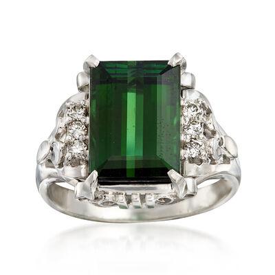 C. 1980 Vintage 4.53 Carat Green Tourmaline and .13 ct. t.w. Diamond Ring in Platinum, , default