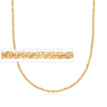 Italian 2mm 18kt Gold Over Sterling Silver Diamond-Cut Chain Necklace, , default