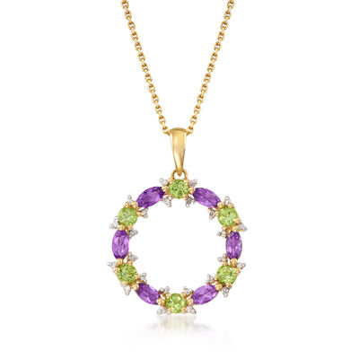 .80 ct. t.w. Amethyst, .70 ct. t.w. Peridot and .10 ct. t.w. Diamond Circle Pendant Necklace in 14kt Yellow Gold, , default