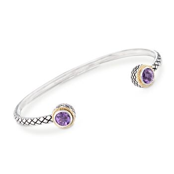 """Andrea Candela 1.10 ct. t.w. Amethyst Cuff Bracelet in Sterling Silver and 18kt Gold. 7"""", , default"""