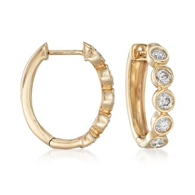 1.00 ct. t.w. Bezel-Set Diamond Hoop Earrings in 14kt Yellow Gold, , default