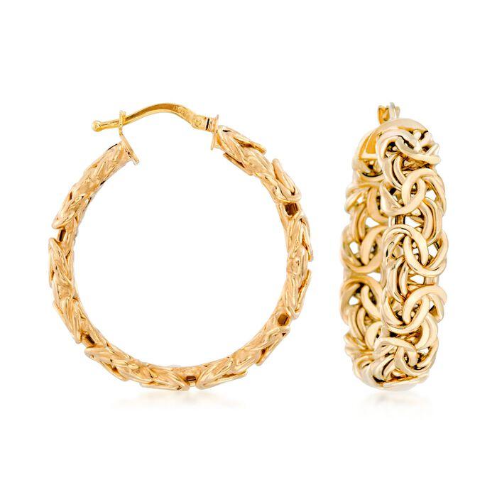 """Italian 14kt Yellow Gold Byzantine Hoop Earrings. 1 1/4"""""""