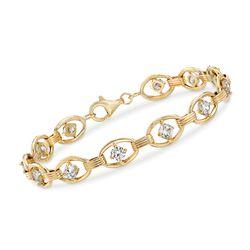3.00 ct. t.w. CZ Oval-Link Bracelet in 14kt Yellow Gold, , default