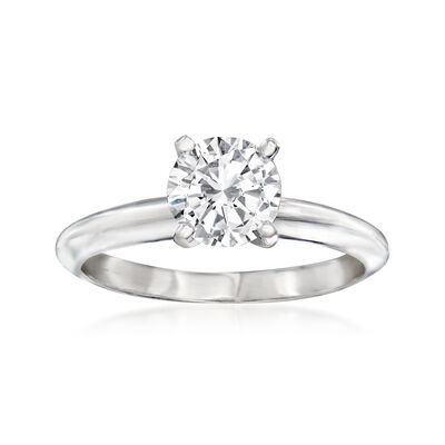 1.00 Carat Certified Diamond Solitaire Ring in 14kt White Gold
