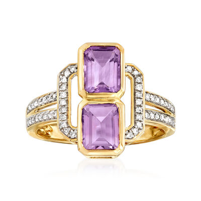 1.70 ct. t.w. Amethyst and .15 ct. t.w. Diamond Ring in 14kt Yellow Gold