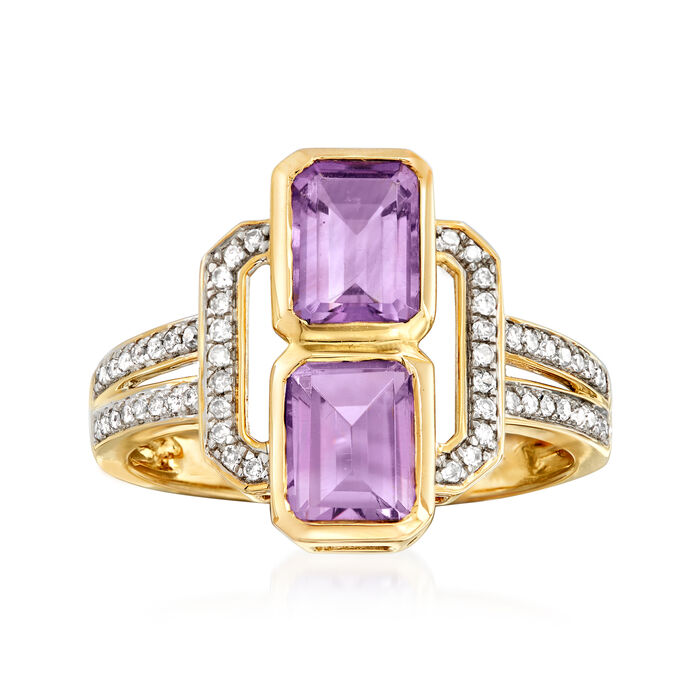 1.70 ct. t.w. Amethyst and .15 ct. t.w. Diamond Ring in 14kt Yellow Gold, , default