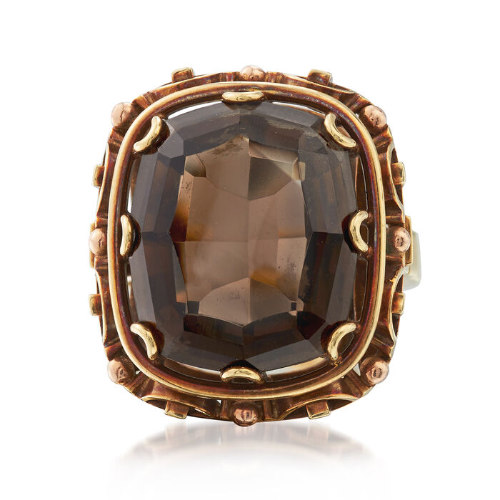 C. 1960 Vintage 10.50 Carat Smoky Quartz Ring in 14kt Yellow Gold. Size 6.5, , default