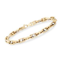 Men's 14kt Two-Tone Gold Link Bracelet, , default