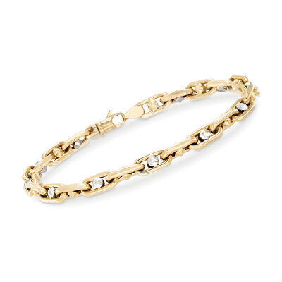 Men's 14kt Two-Tone Gold Link Bracelet, , default