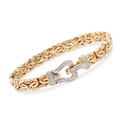 .29 ct. t.w. Diamond and 14kt Yellow Gold Byzantine Buckle Bracelet