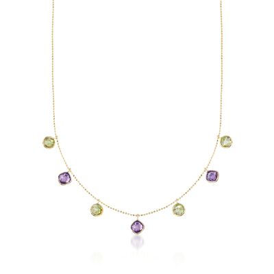 3.20 ct. t.w. Peridot and 2.50 ct. t.w. Amethyst Station Necklace in 14kt Yellow Gold, , default