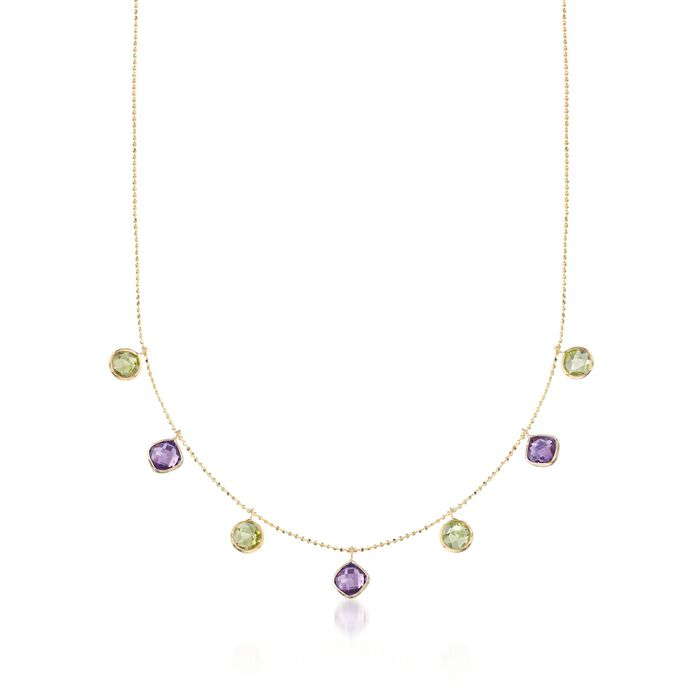 "3.20 ct. t.w. Peridot and 2.50 ct. t.w. Amethyst Station Necklace in 14kt Yellow Gold. 16"", , default"
