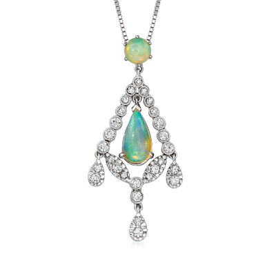 C. 1990 Vintage Opal and .65 ct. t.w. Diamond Pendant Necklace in 14kt and 18kt White Gold