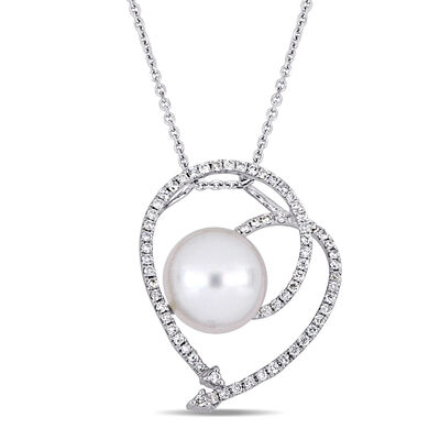 10.5-11mm Cultured South Sea Pearl and .48 ct. t.w. Diamond Open-Space Heart Pendant Necklace in 18kt White Gold