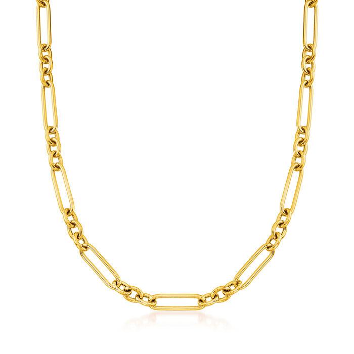 Italian 18kt Gold Over Sterling Alternating Paper Clip Link Necklace