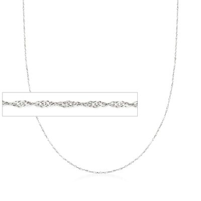 Italian .8mm 14kt White Gold Adjustable Slider Singapore Chain, , default