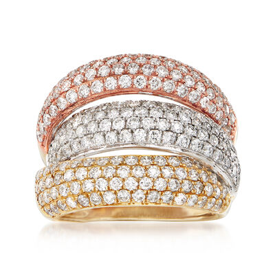 2.90 ct. t.w. Diamond Multi-Row Ring in 14kt Tri-Colored Gold