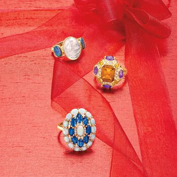 Opal and 2.70 ct. t.w. Sapphire Ring With Diamonds in 14kt Yellow Gold, , default