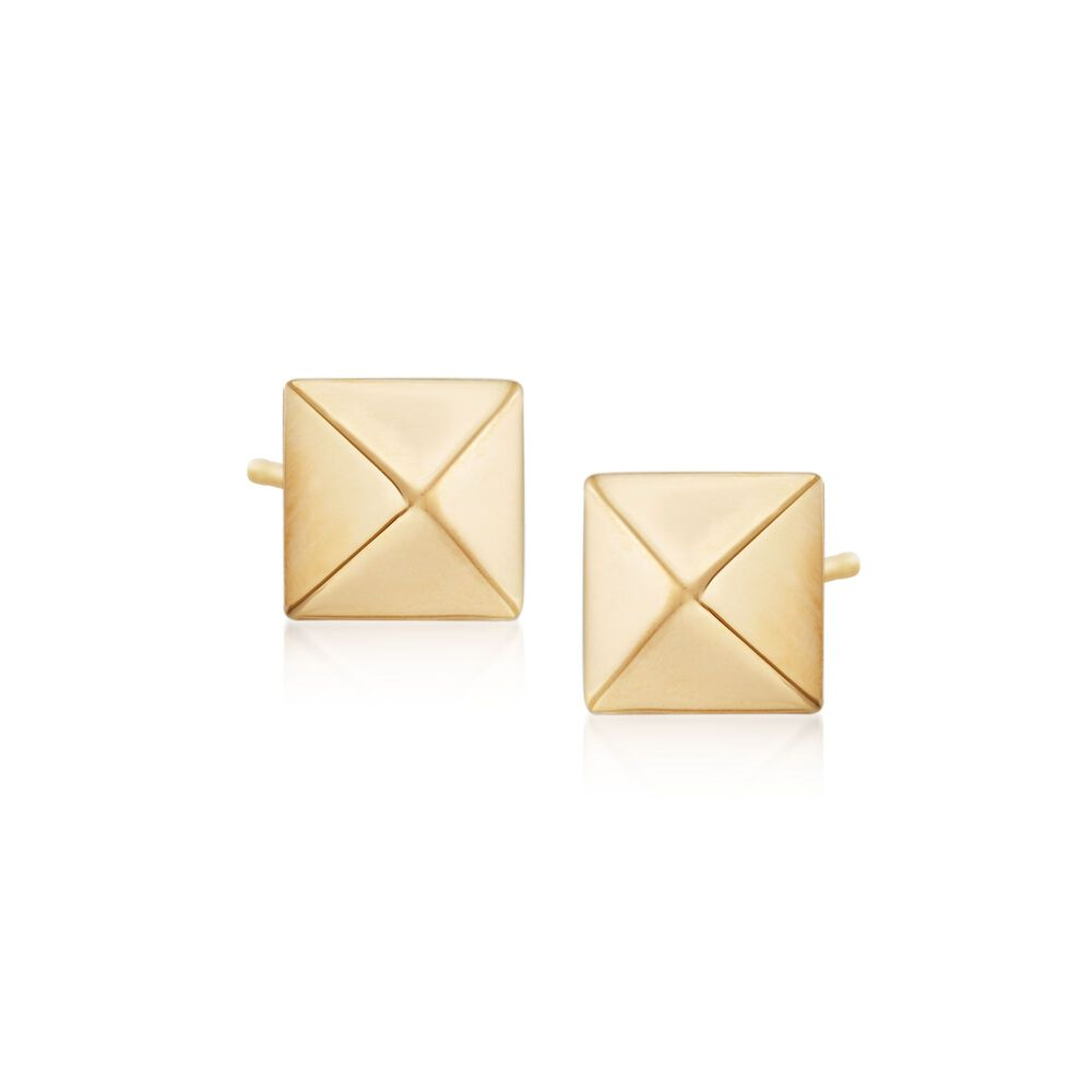 807668c077aa9 14kt Yellow Gold Pyramid Stud Earrings