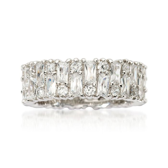 3.85 ct. t.w. Baguette and Round CZ Eternity Band in Sterling Silver, , default