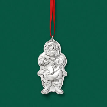 Wallace 2019 Annual Sterling Silver Santa Ornament - 3rd Edition, , default