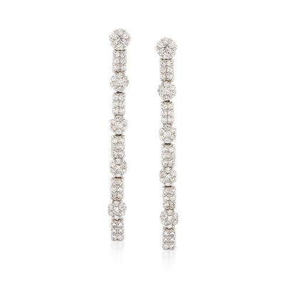 3.25 ct. t.w. CZ Linear Drop Earrings in Sterling Silver, , default