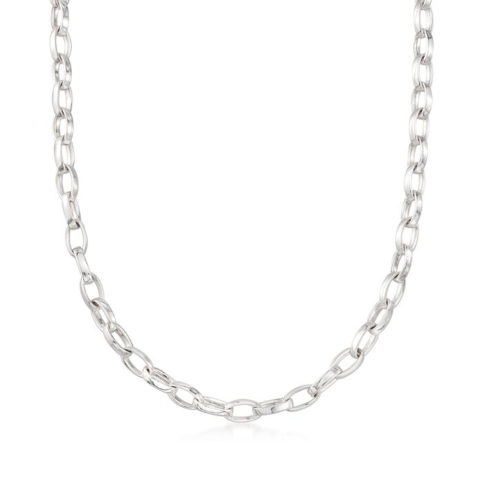"""Zina Sterling Silver """"Contemporary"""" Oval-Link Necklace. 17"""""""