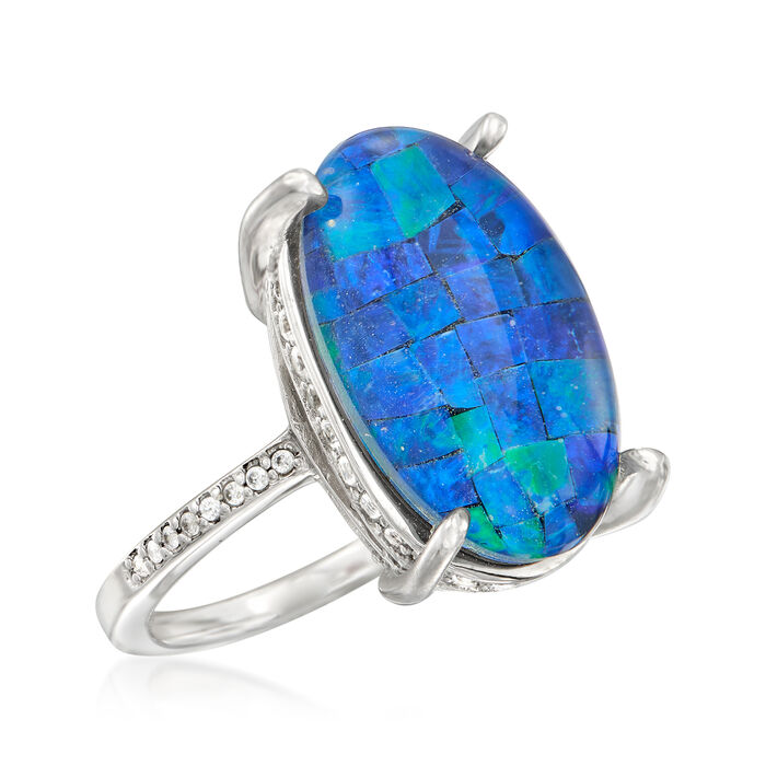 Multi-Gemstone and .80 ct. t.w. White Zircon Triplet Ring in Sterling Silver