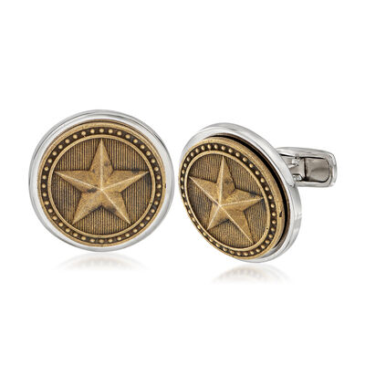 Men's Armored Star Coin Cuff Links, , default