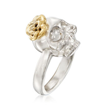 Skull Ring in 14kt Yellow Gold with White Rhodium, , default