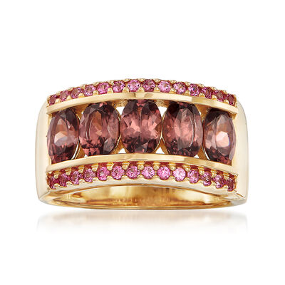 3.90 ct. t.w. Pink Zircon and .30 ct. t.w. Pink Sapphire Ring in 14kt Yellow Gold, , default