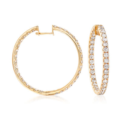 3.00 ct. t.w. Diamond Inside-Outside Hoop Earrings in 14kt Yellow Gold, , default