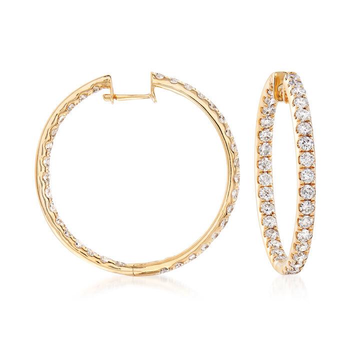 3.00 ct. t.w. Diamond Inside-Outside Hoop Earrings in 14kt Yellow Gold. 1 1/8, , default
