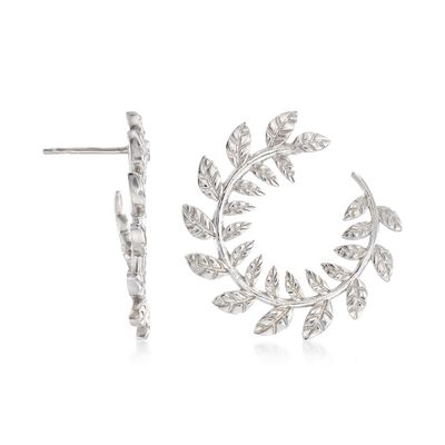 Italian Sterling Silver Laurel Leaf Wreath Front-Facing Hoop Earrings, , default