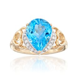 4.90 Carat Swiss Blue Topaz Ring With Diamond Accents in 14kt Yellow Gold, , default