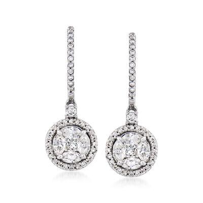 1.00 ct. t.w. Diamond Cluster Drop Earrings in 14kt White Gold