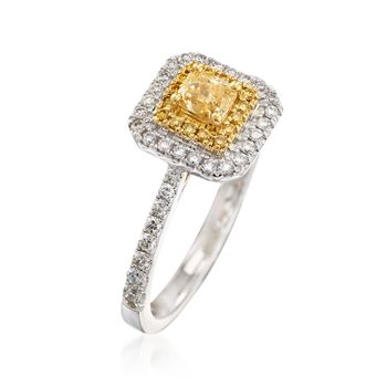 Gregg Ruth .86 ct. t.w. Yellow and White Diamond Ring in 18kt White Gold. Size 7