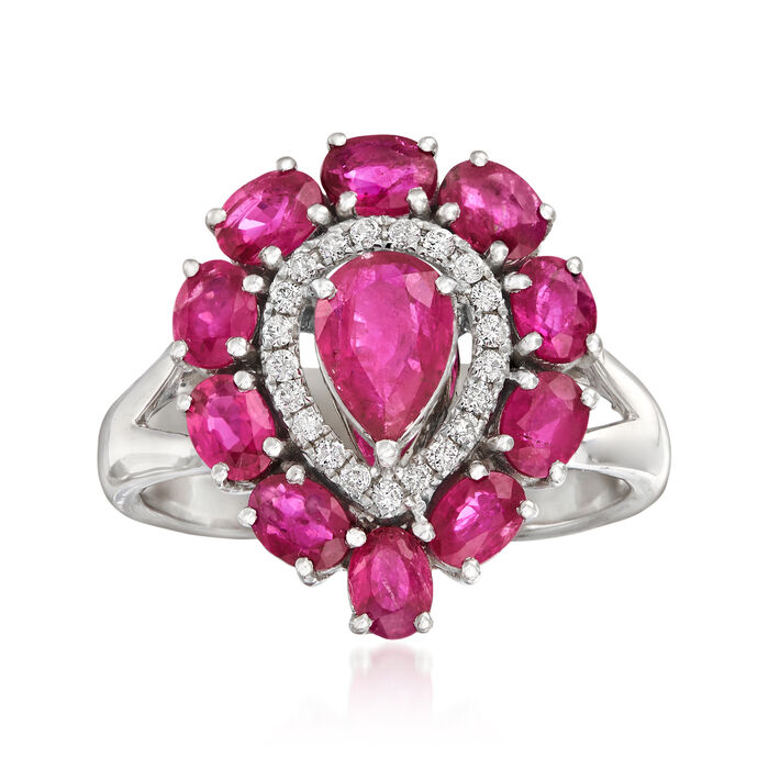 2.10 ct. t.w. Ruby and .10 ct. t.w. Diamond Ring in 18kt White Gold, , default