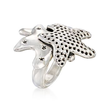 Sterling Silver Starfish Trio Ring, , default